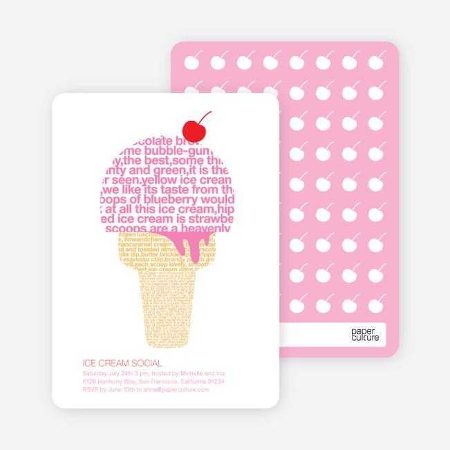 Ice Cream Social Summer Party Invitations Paper Culture