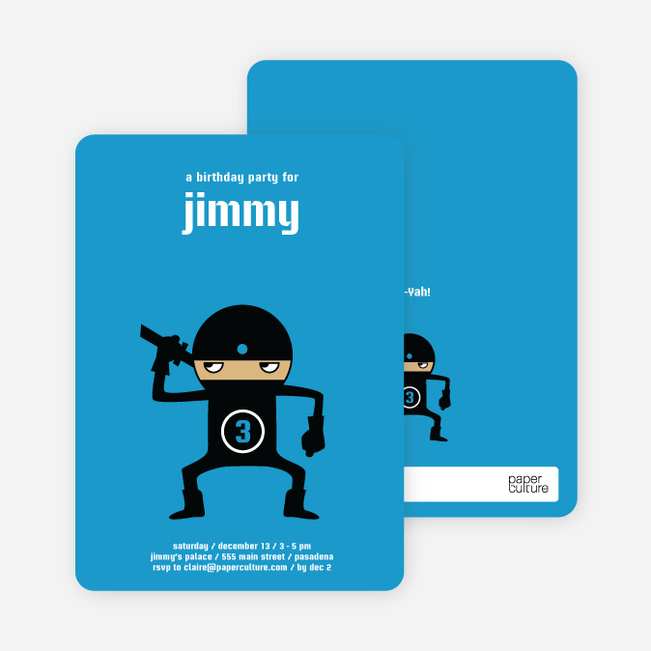 Modern Ninja Kids Birthday Invitation Paper Culture - kids birthday invites