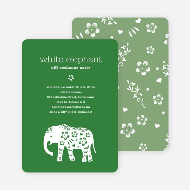 White Elephant Holiday Party Invitation (aka Secret Santa) Paper