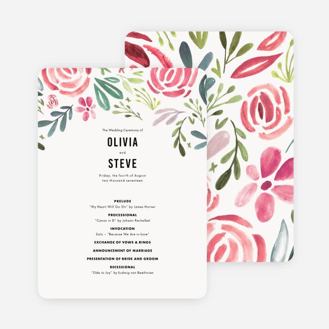 Floral Water Colors Wedding Programs Paper Culture