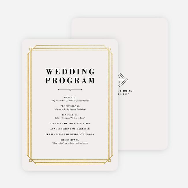 Art Deco Wedding Programs Paper Culture