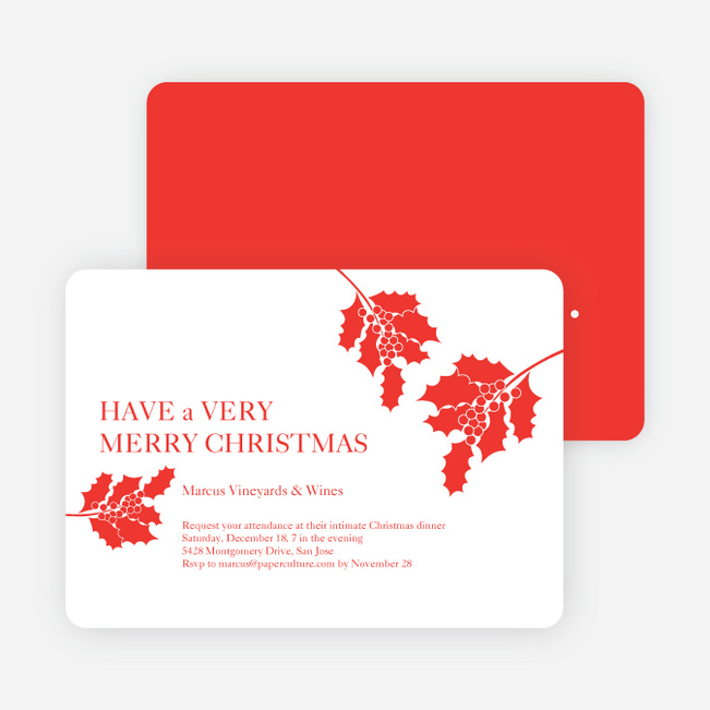 Holly Holidays Holiday Party Invitations Paper Culture