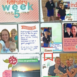Linda Trace, teacher of STRESS FREE POCKETS, showcase her own pocket scrapbooking spread.