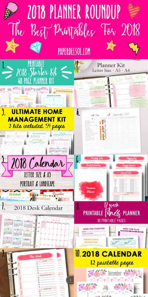 The Best Planners for 2018, Printable Planner Roundup