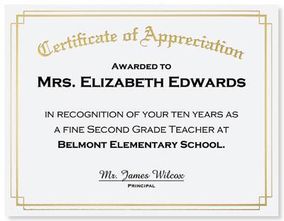 sample of certificates of appreciation template teacher