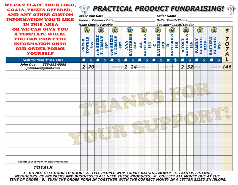 Fundraiser Order Form Templates Free free change order template – Fund Raiser Order Form