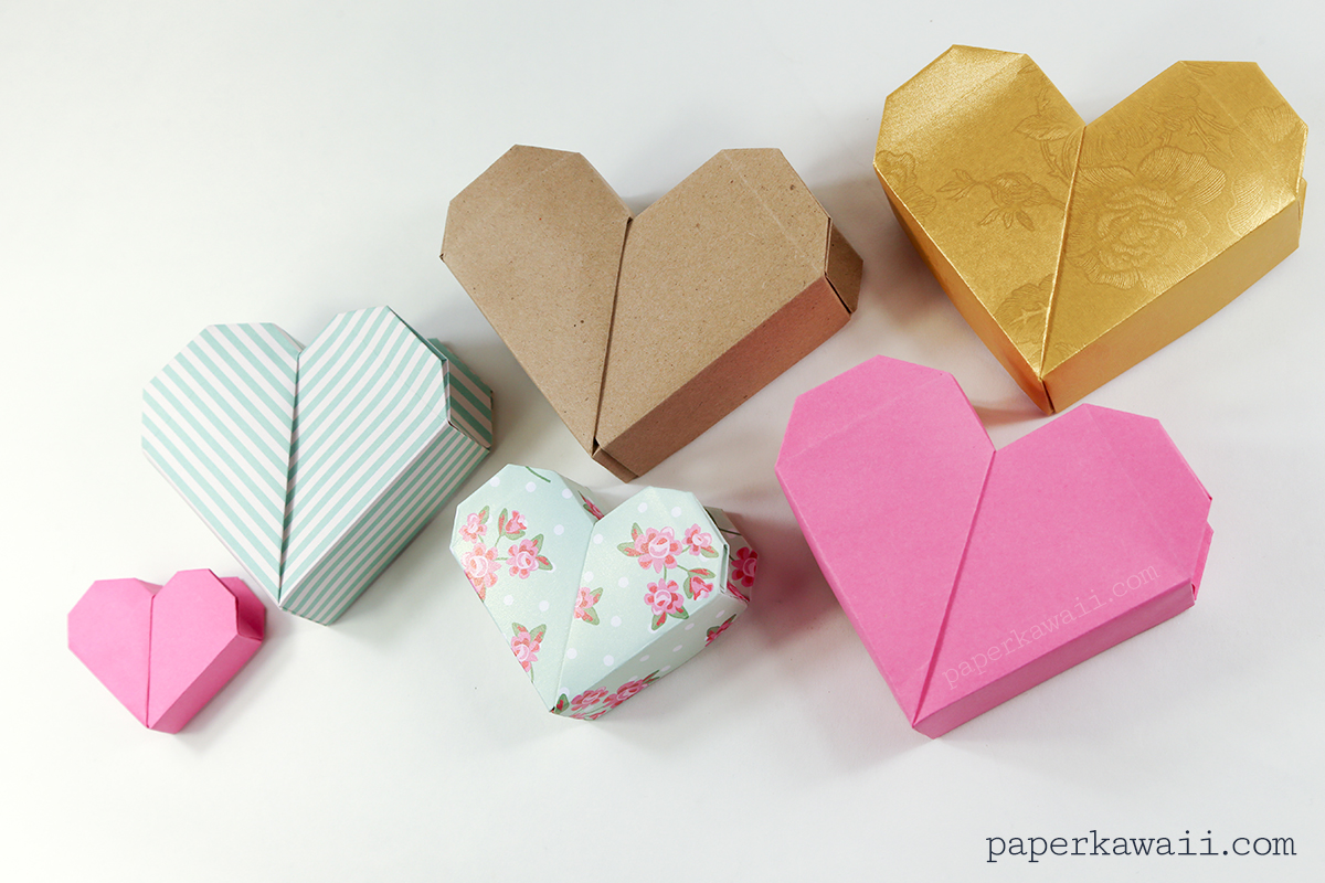 Origami heart box video instructions paper kawaii - How to make a paper heart box ...