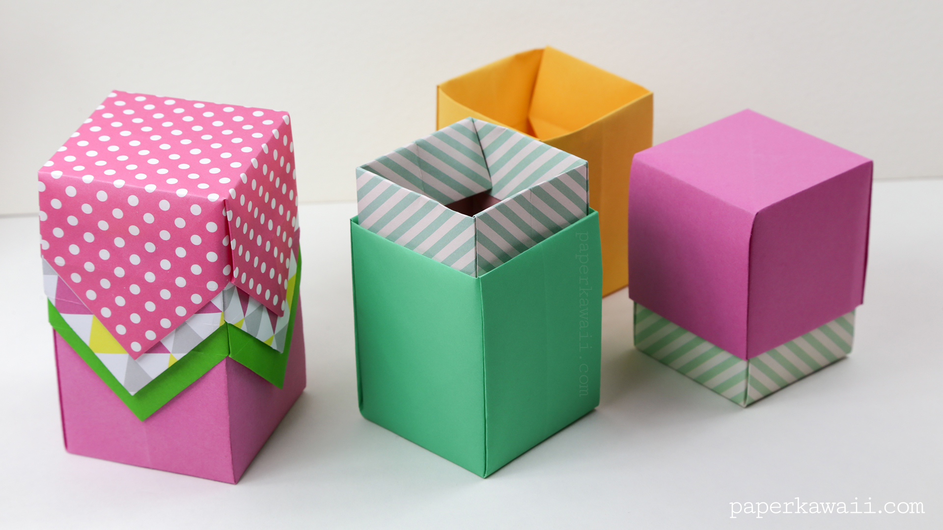 Tall Origami Box Video Tutorial Paper Kawaii