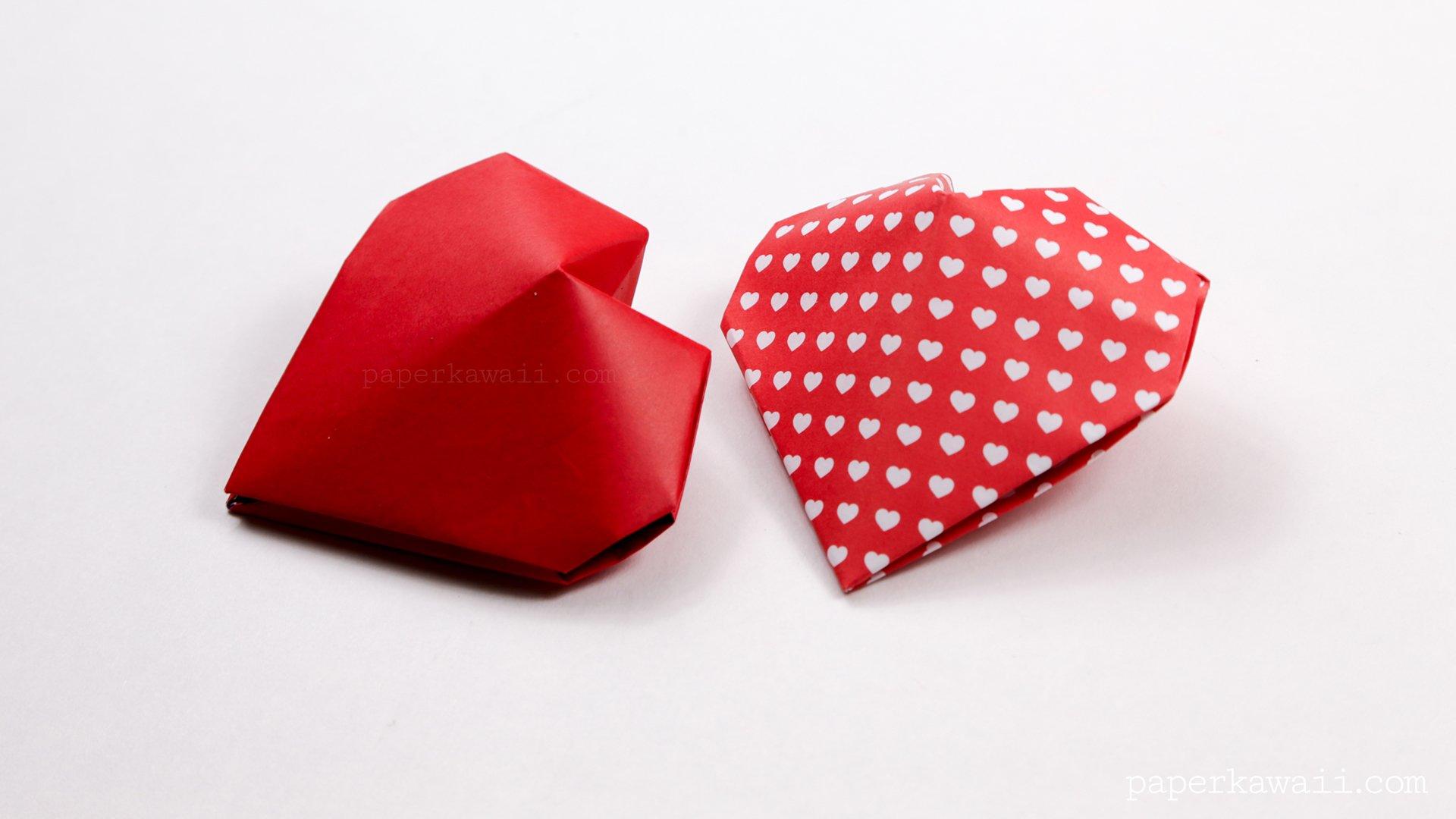origami 3d puffy heart instructions paper kawaii