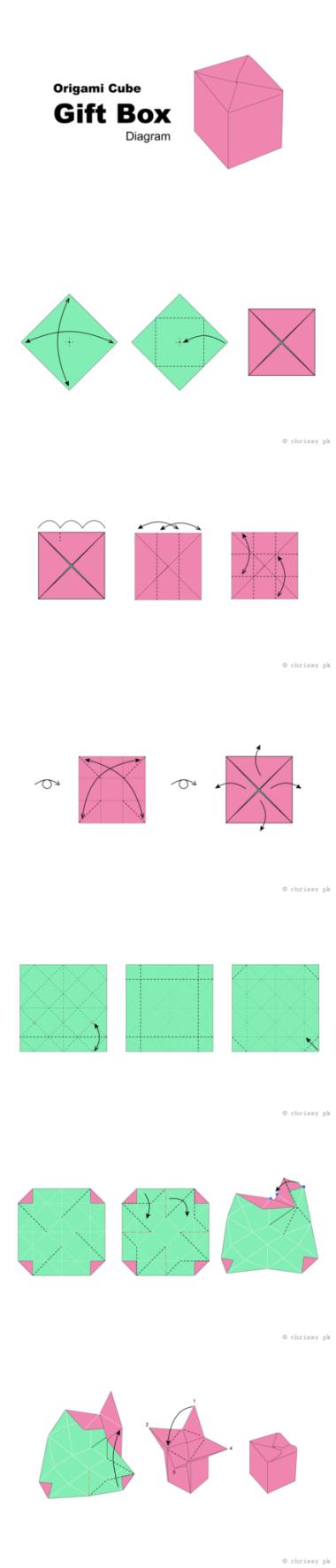 Origami Cube Box - Paper Kawaii #origami #diagram