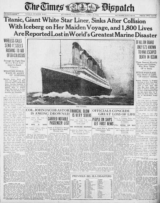 Titanic Disaster Newspaper Archive