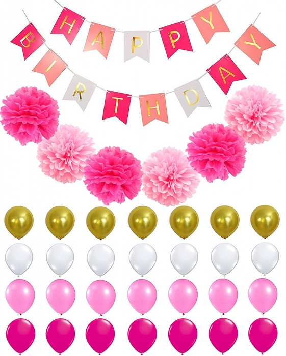Buy Custom Pink Gold Black Happy Birthday Banner With Balloons And