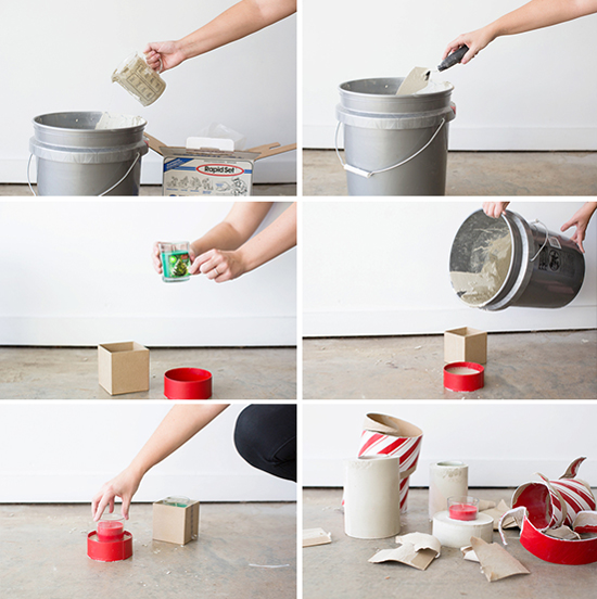 Deck the Halls the DIY Way: Cement Candle Votives for the