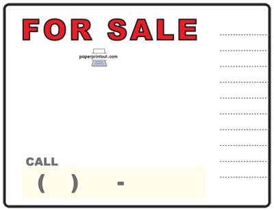 Free Car For Sale Sign To Print Online - car sale sign template