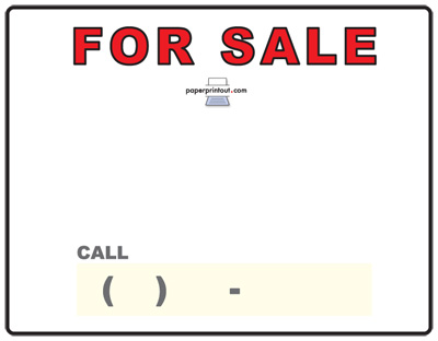 Free Car For Sale Sign To Print Online - for sale template