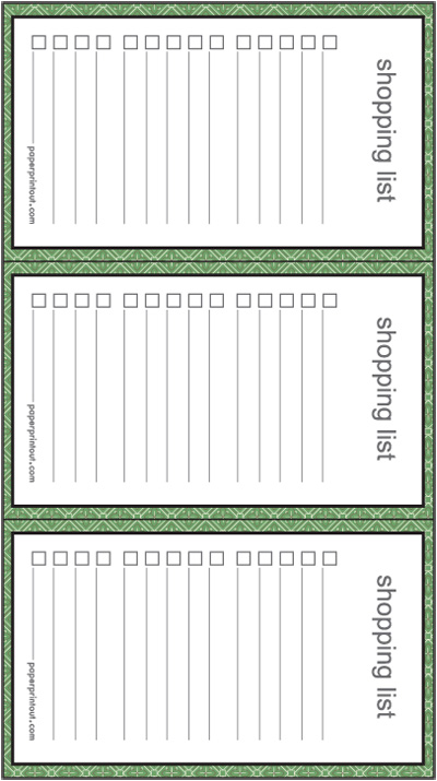 Shopping List - Download Free Printable Lists