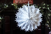 Pack of 12 Paper Snowflake Christmas Hanging Decorations