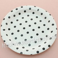 9 Round Paper Plates Black Polka Dot 60pcs