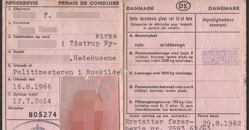 Kingdom Of Denmark Driving License 1966 2014