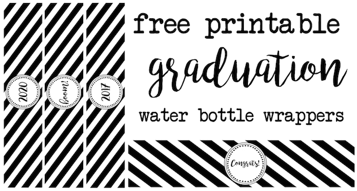 Graduation Water Bottle Wrappers - Paper Trail Design