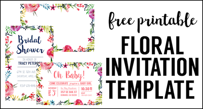 Floral Borders Invitations {Free Printable Invitation Templates