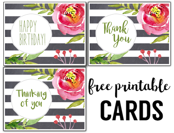 Free Printable Greeting Cards {Thank You, Thinking of You, Birthday