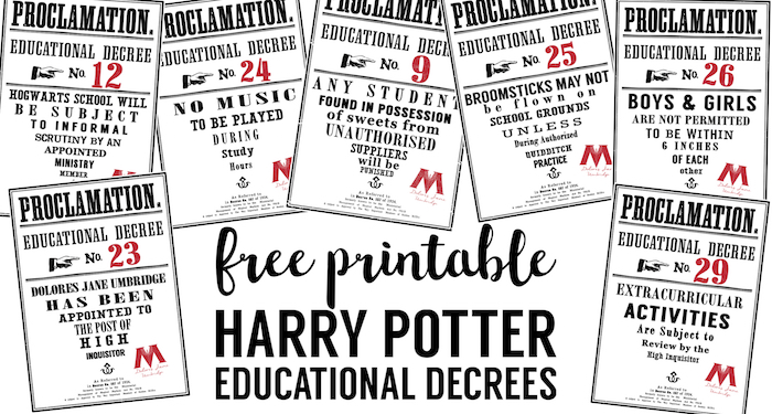 Harry Potter Educational Decrees {free printables} - Paper Trail Design