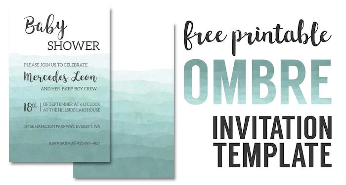 Ombre Invitation Templates Free Printable - Paper Trail Design