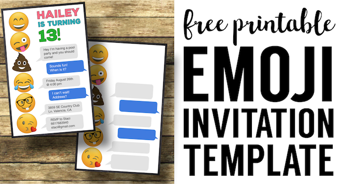 Emoji Birthday Invitations Free Printable Template - Paper Trail Design