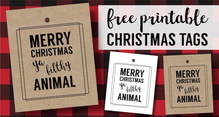 Merry Christmas Ya Filthy Animal Card Free Printable - Paper Trail