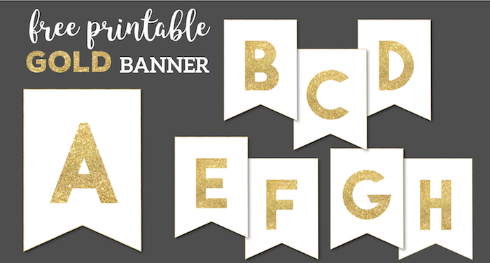 Gold Free Printable Banner Letters - Paper Trail Design