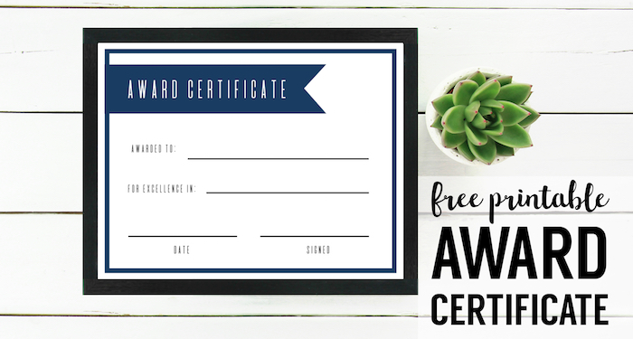 Free Printable Award Certificate Template - Paper Trail Design