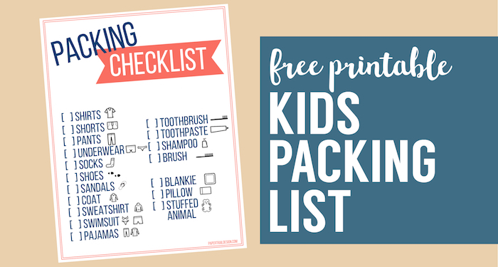 Free Printable Vacation Packing List Template for Kids - Paper Trail