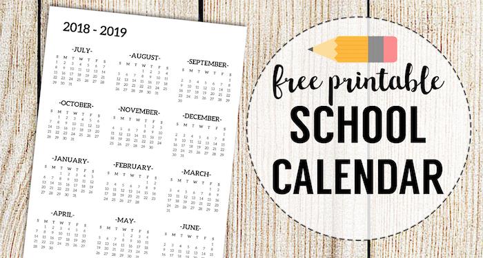 2018-2019 School Calendar Printable Free Template - Paper Trail Design