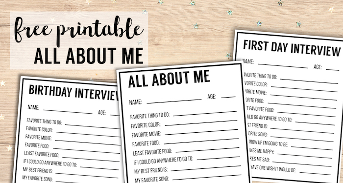 All About Me Printables {Interview Template} - Paper Trail Design