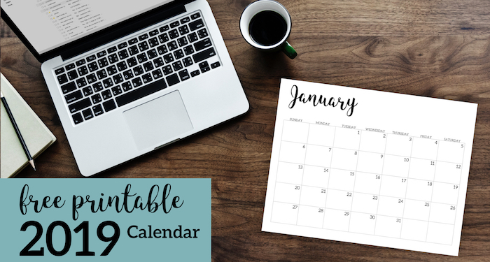 2019 Calendar Printable Free Template - Paper Trail Design