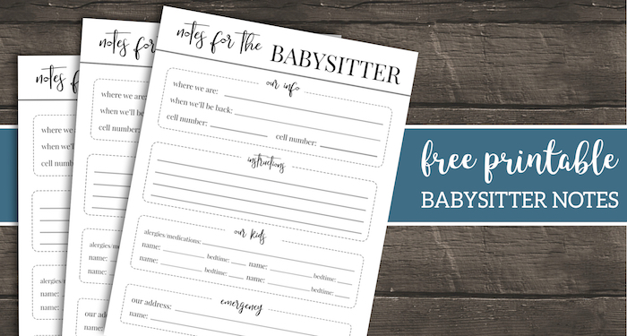 Free Printable Babysitter Notes Template - Paper Trail Design