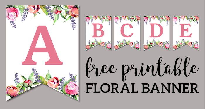 Floral Free Printable Alphabet Letters Banner - Paper Trail Design