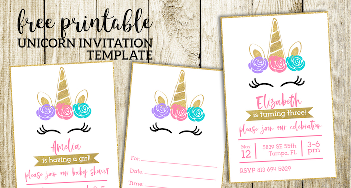 Free Printable Unicorn Invitations Template - Paper Trail Design