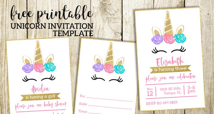 Free Printable Unicorn Invitations Template - Paper Trail Design