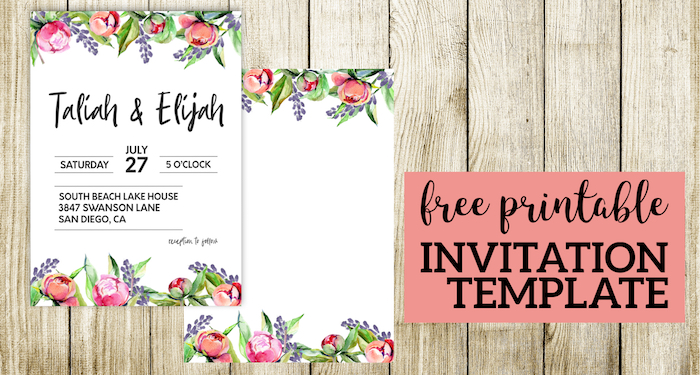 Floral Wedding Invitation Template - Paper Trail Design