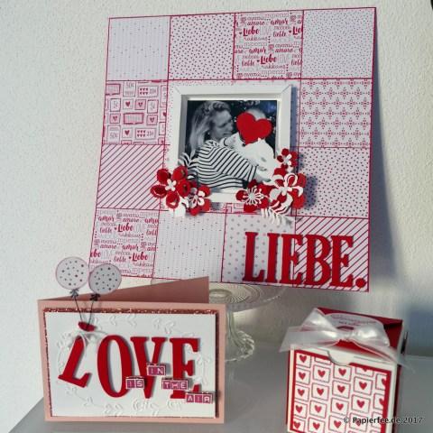 Stampin'Up!, Karte zum Valentinstag , Layout, Liebe, Scrapbooking, Geschenkbox, Schachtel