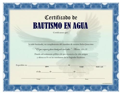 Certificado de Bautismo en Agua - Para Imprimir Gratis