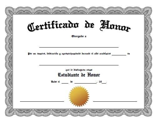 Certificado de Honor - Para Imprimir Gratis - ParaImprimirGratis - certificado de reconocimiento para imprimir