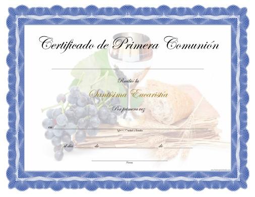 Certificado de Primera Comunión - Para Imprimir Gratis