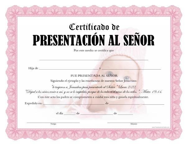 Certificados de Presentación al Señor - Para Imprimir Gratis