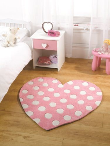 Girls Pink Polka Dot Love Heart Shape Soft Fluffy Child's Rug 90 x 90cm
