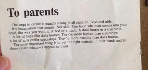 Instructions aux parents, Lego 1974