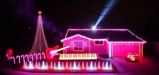 Une maison illuminée sur les musiques de Star Wars