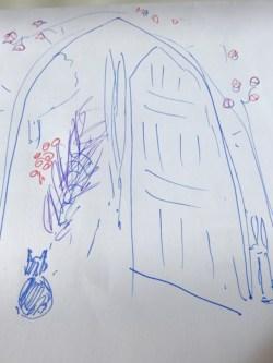 Murale d'un jardin secret : croquis de l'idée de départ